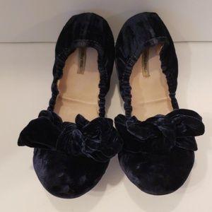 Miu Miu navy blue velour ballet flats